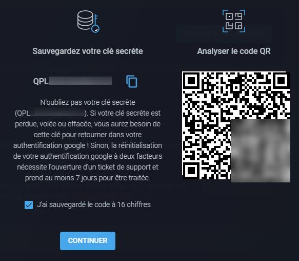 QR code pour activer le 2FA