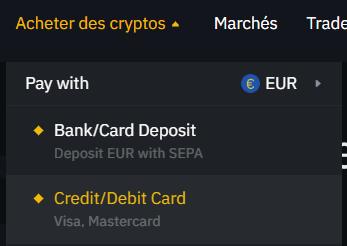 Acheter des cryptos par carte bancaire
