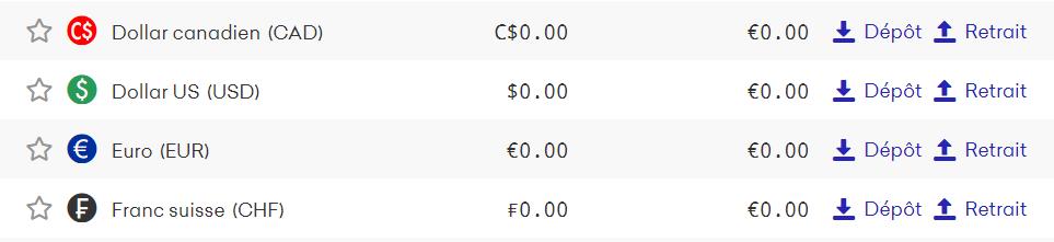 Choix de la monnaie à déposer