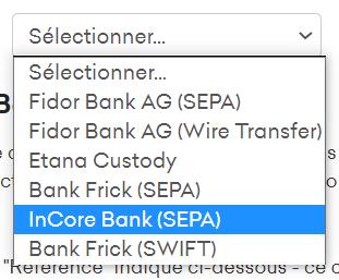 Sélection de la banque