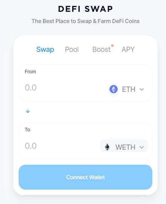 Interface DeFi Swap Crypto.com