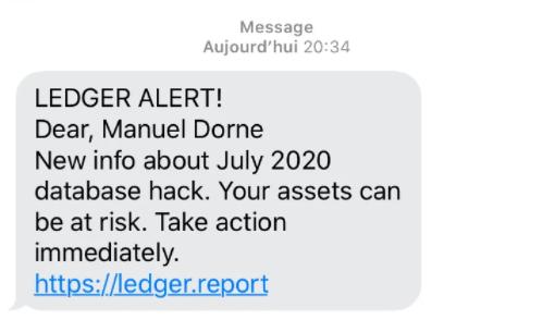 Ledger SMS Phishing