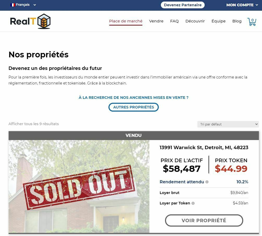 propriétés disponibles ou vendues sur realt