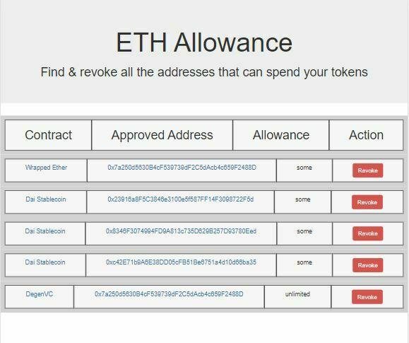 adresses smart contracts utilisees par portefeuille metamask