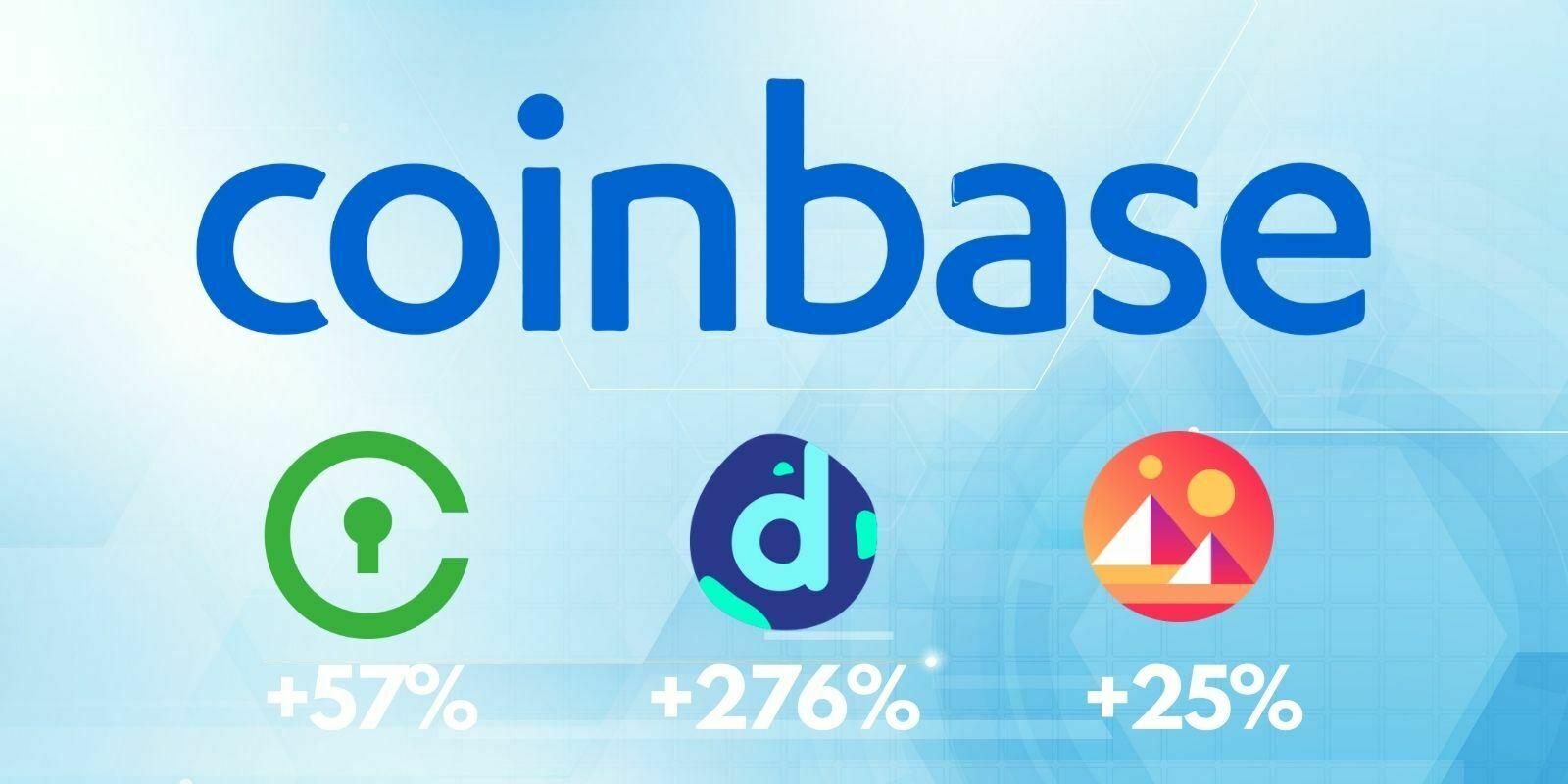 Coinbase ajoute le CVC (+57%), MANA (+25%) et le DNT (+276%)