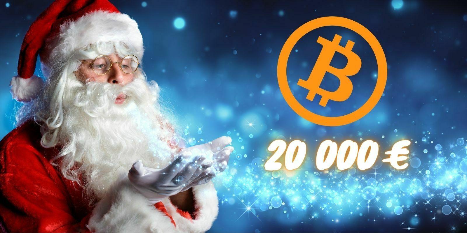 Bitcoin (BTC) dépasse pour la première fois les 20 000 € le jour de Noël