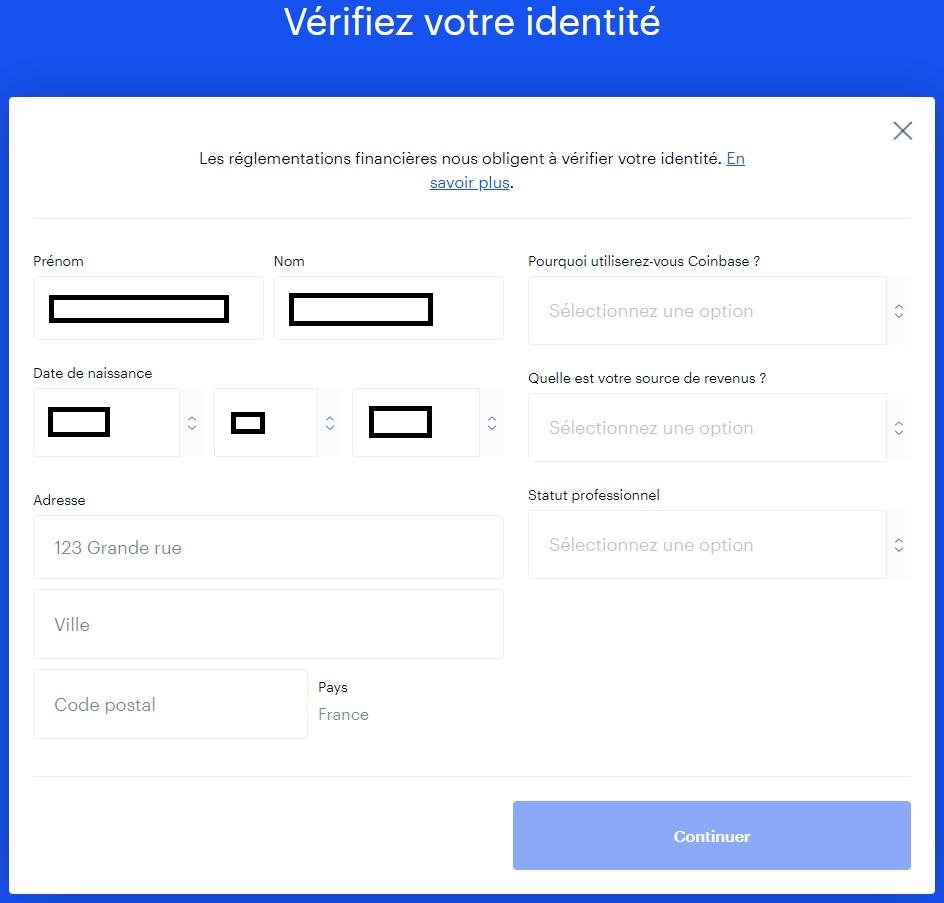 formulaire vérification identité supplémentaire coinbase