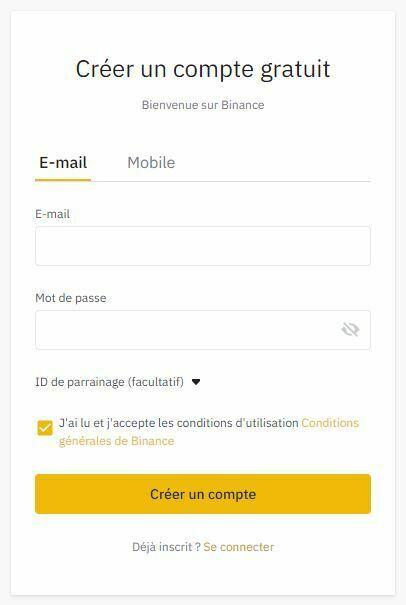inscription binance pour acheter du bitcoin