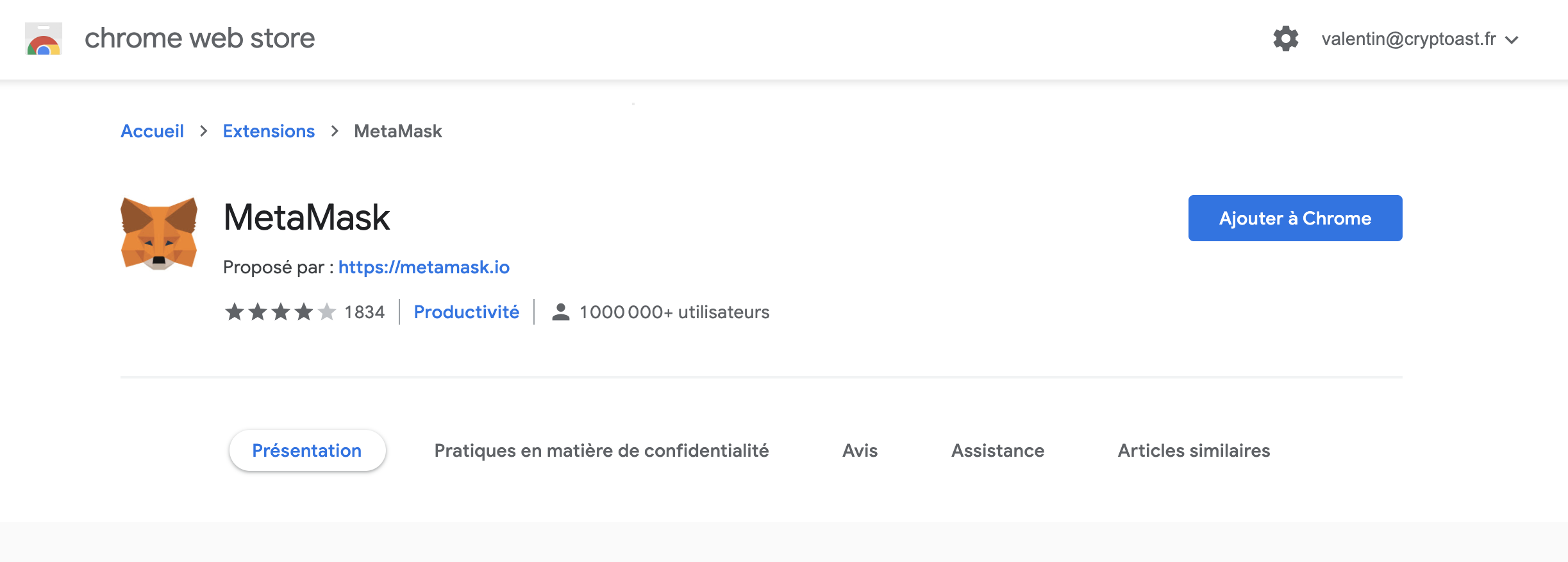 Télécharger Metamask sur le chrome web store.