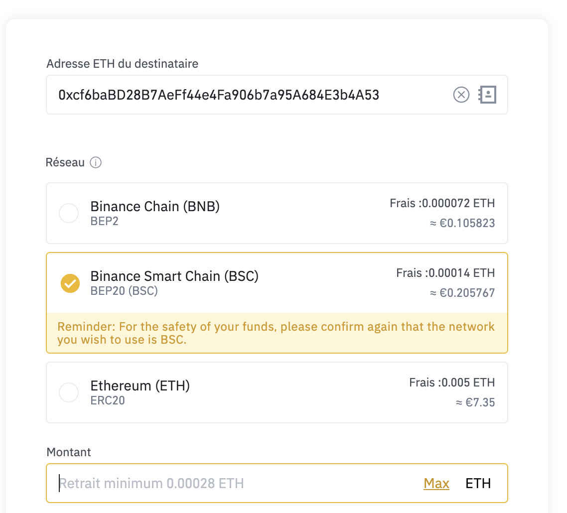 BSC retrait Binance