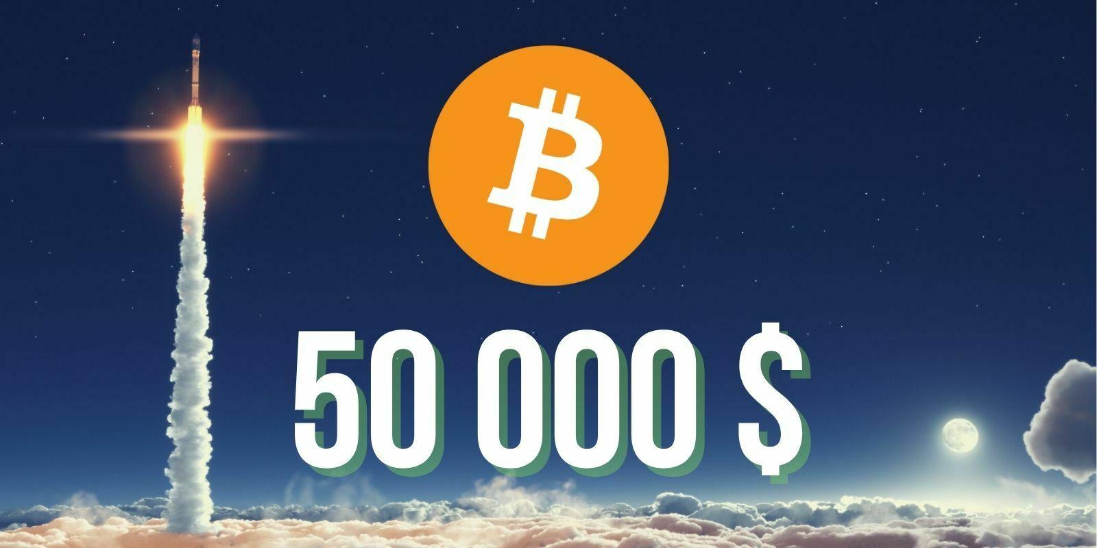 Le cours du Bitcoin (BTC) dépasse pour la première fois les 50 000 dollars