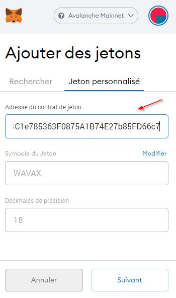 MetaMask Ajout WAVAX