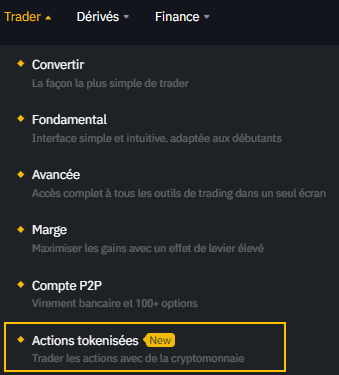Binance Actions Tokenisées