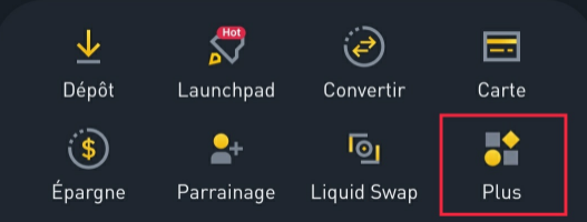 Bouton Plus Application Binance